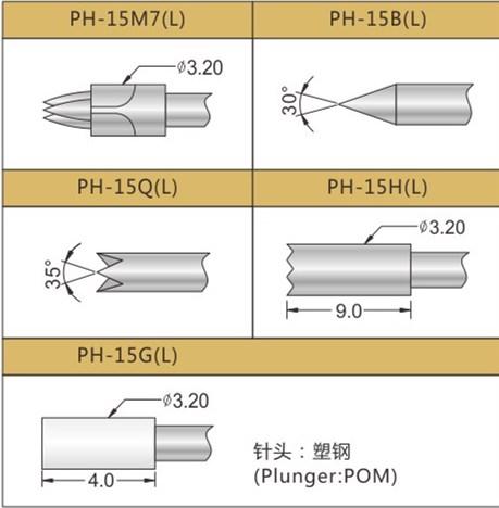 PH-15探针头型,华荣华探针厂家